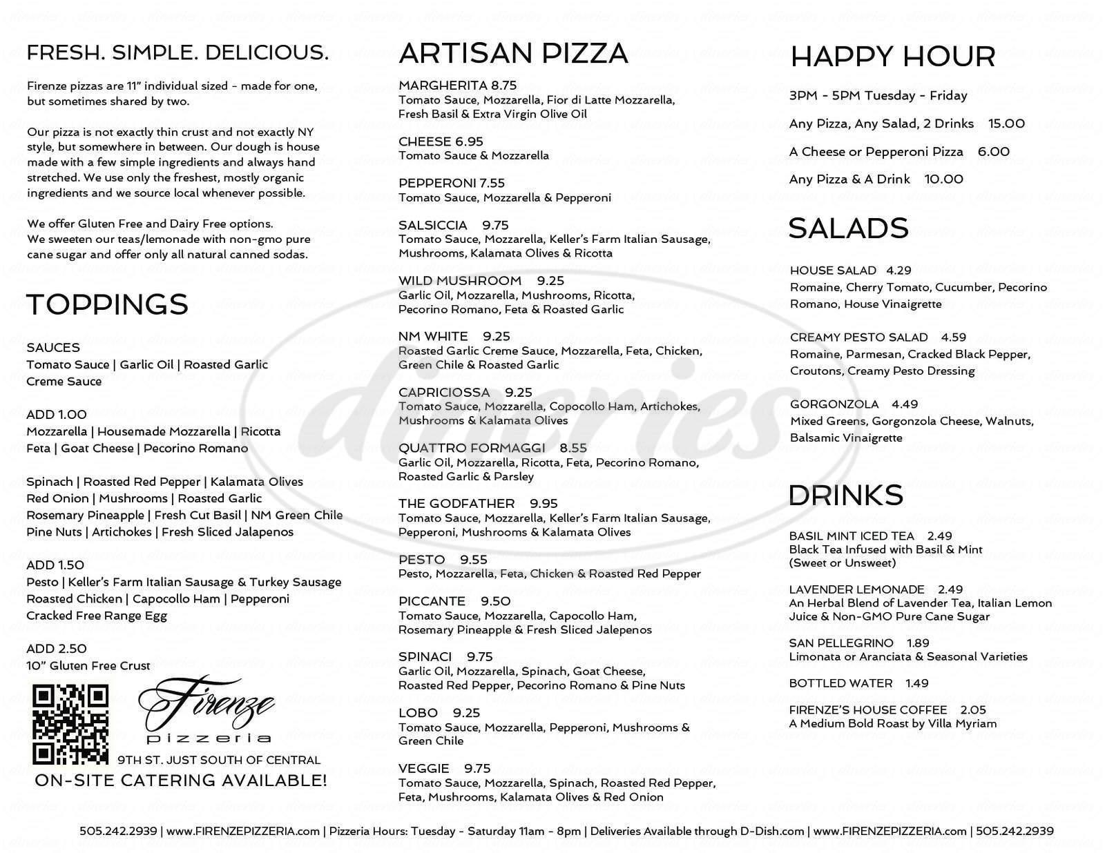 menu for Firenze Pizzeria
