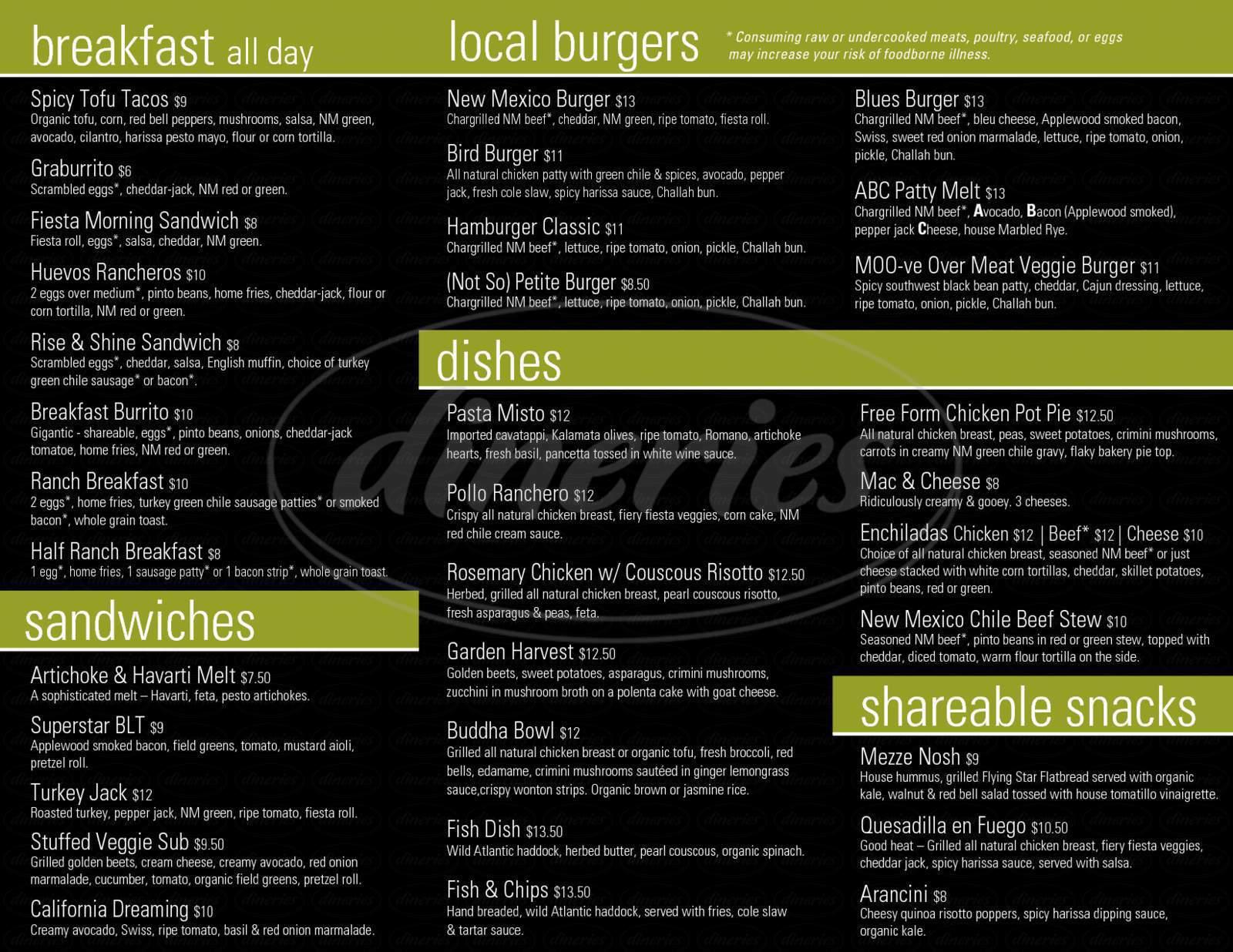 menu for Flying Star Cafe