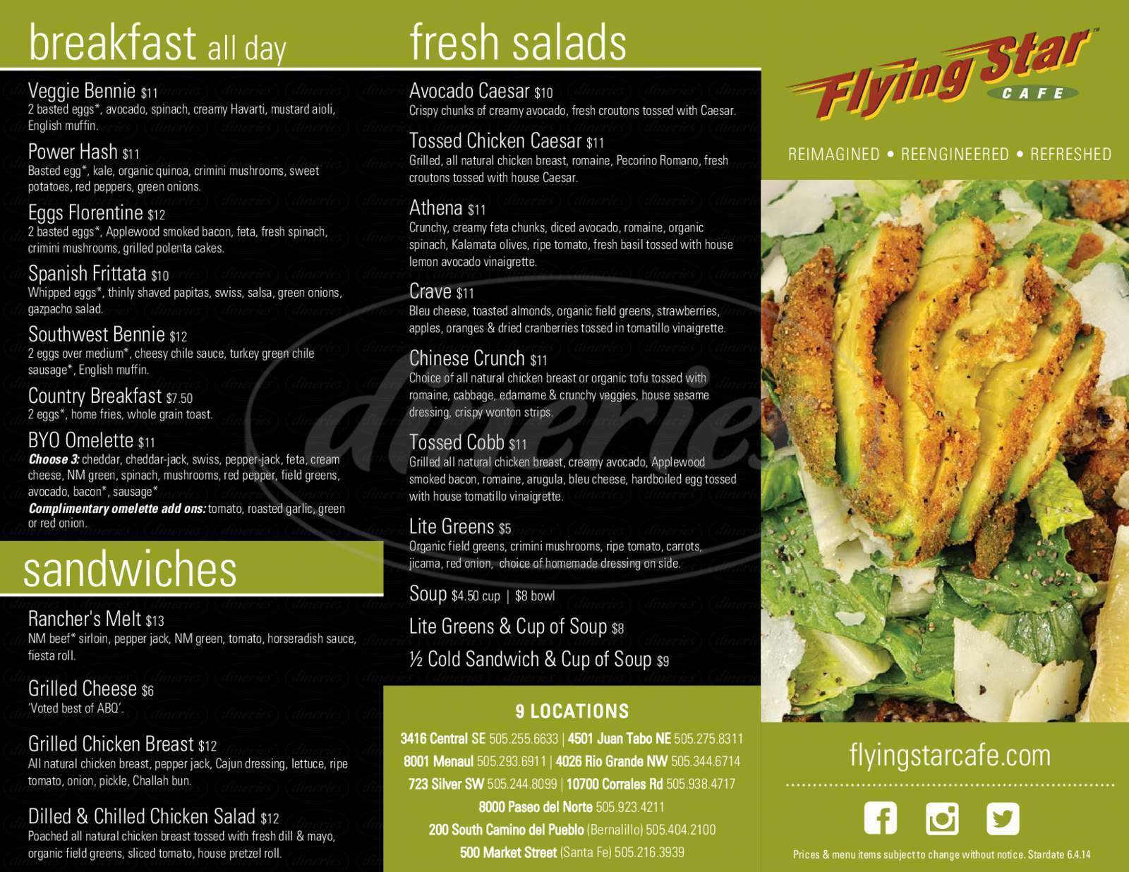 menu for Flying Star Cafe