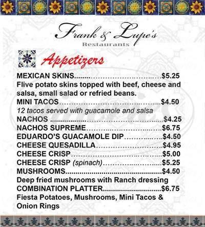 menu for El Sombrero Cafe