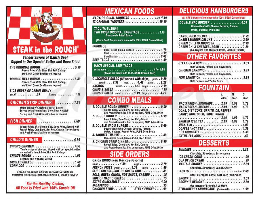 menu for Mac's Steak in the Rough