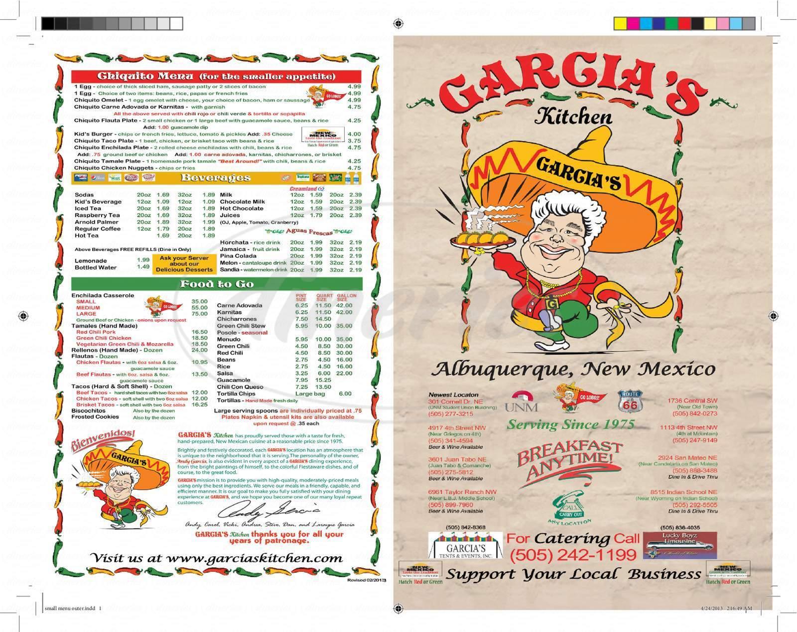 menu for The Original Garcia's Kitchen