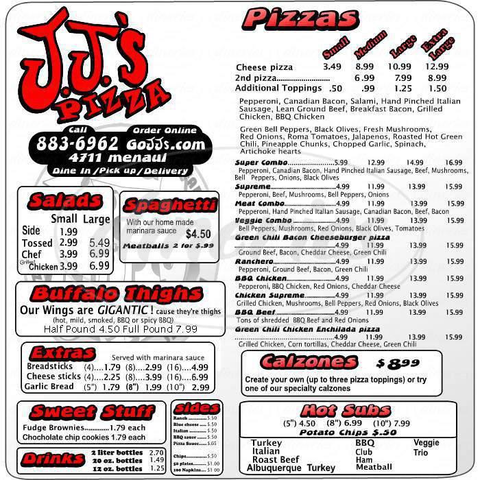 menu for JJ's Pizza