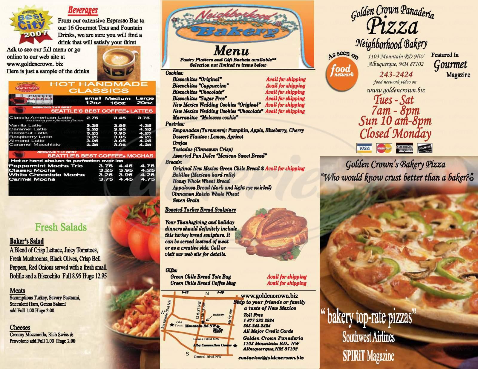 menu for Golden Crown Panaderia