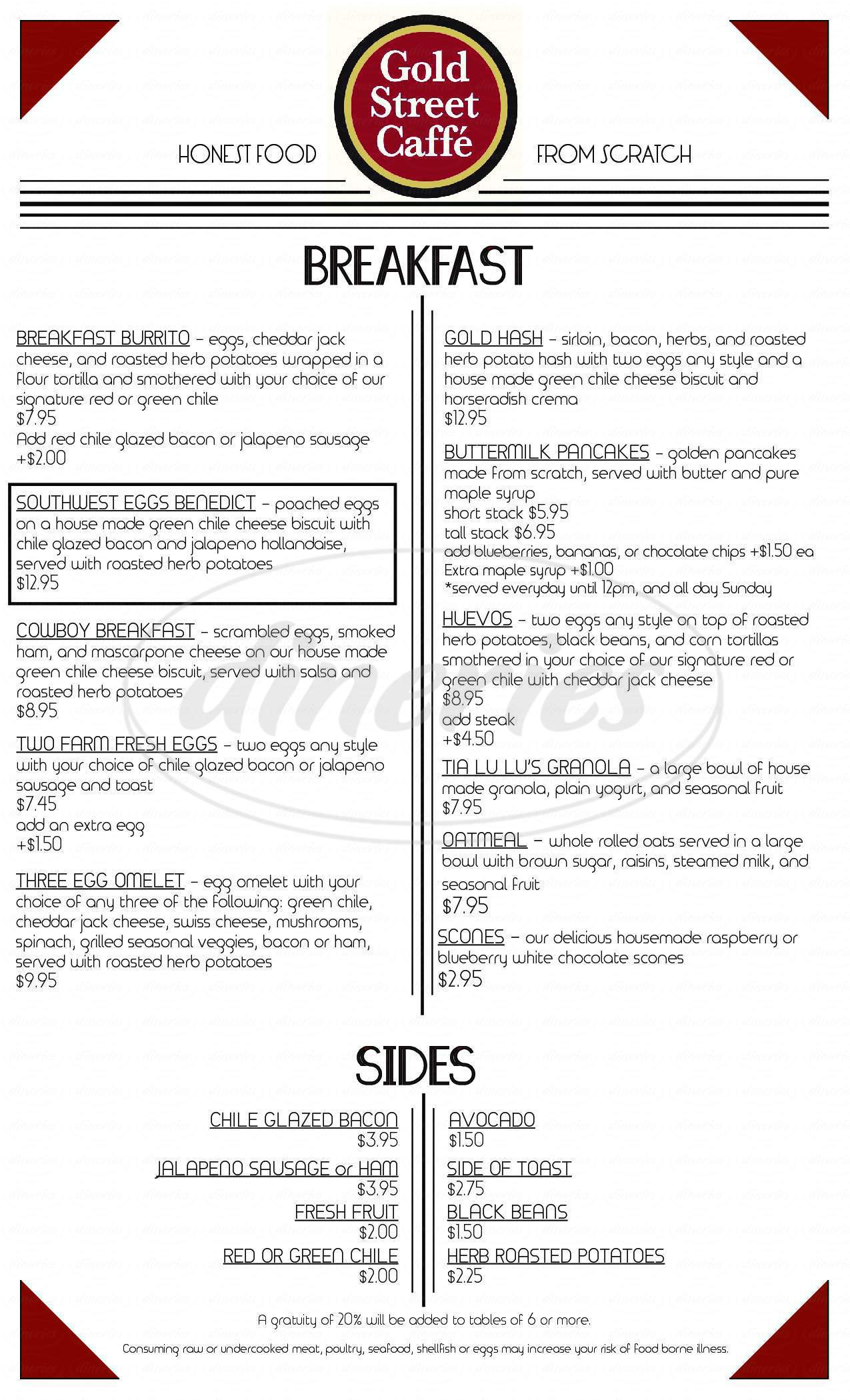 menu for Gold Street Caffe