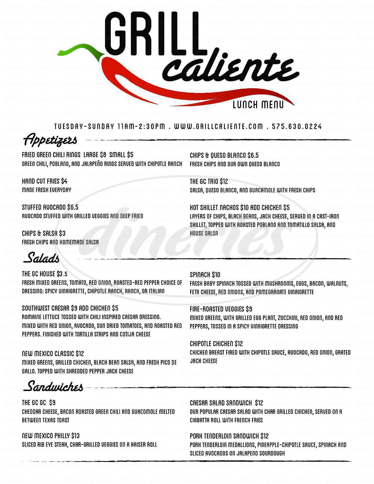 menu for Grill Caliente