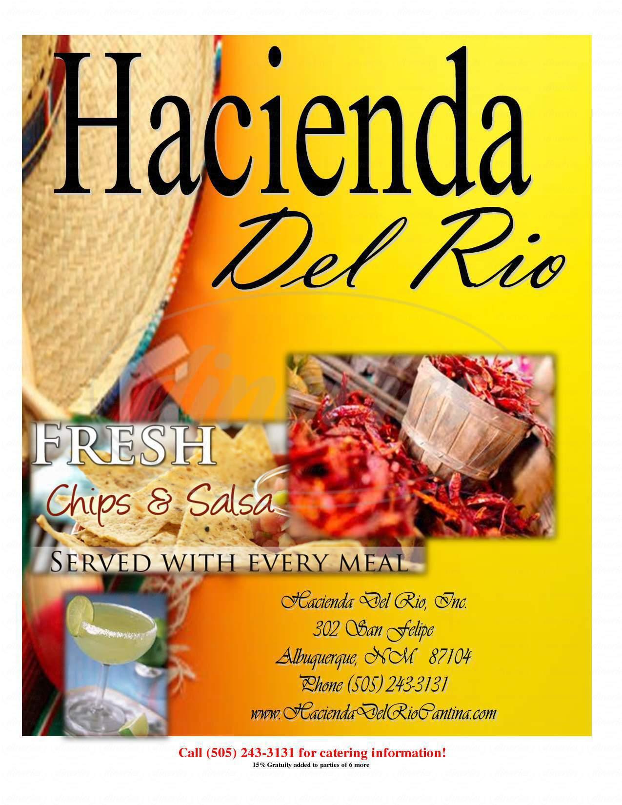 menu for Hacienda Del Rio