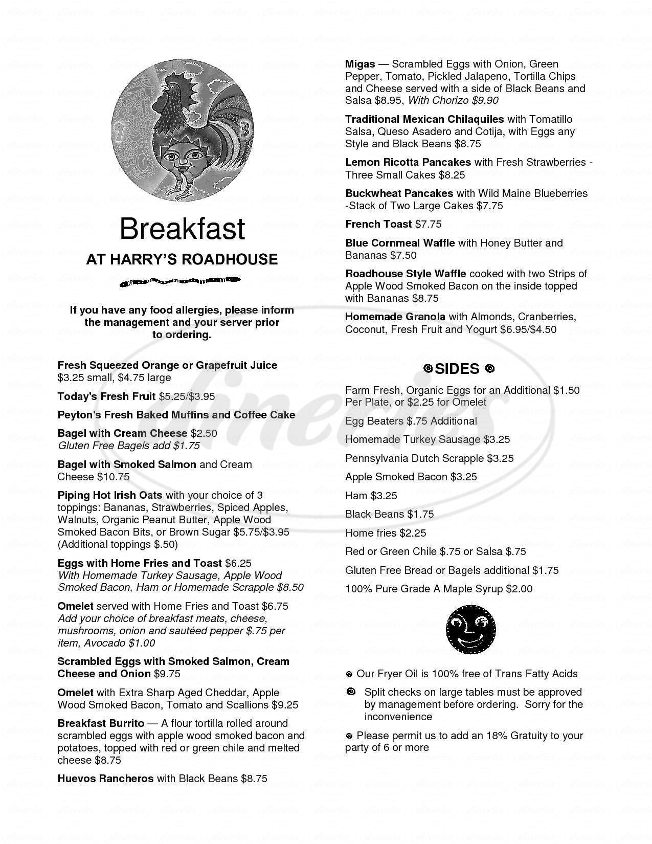 menu for Harry's Roadhouse