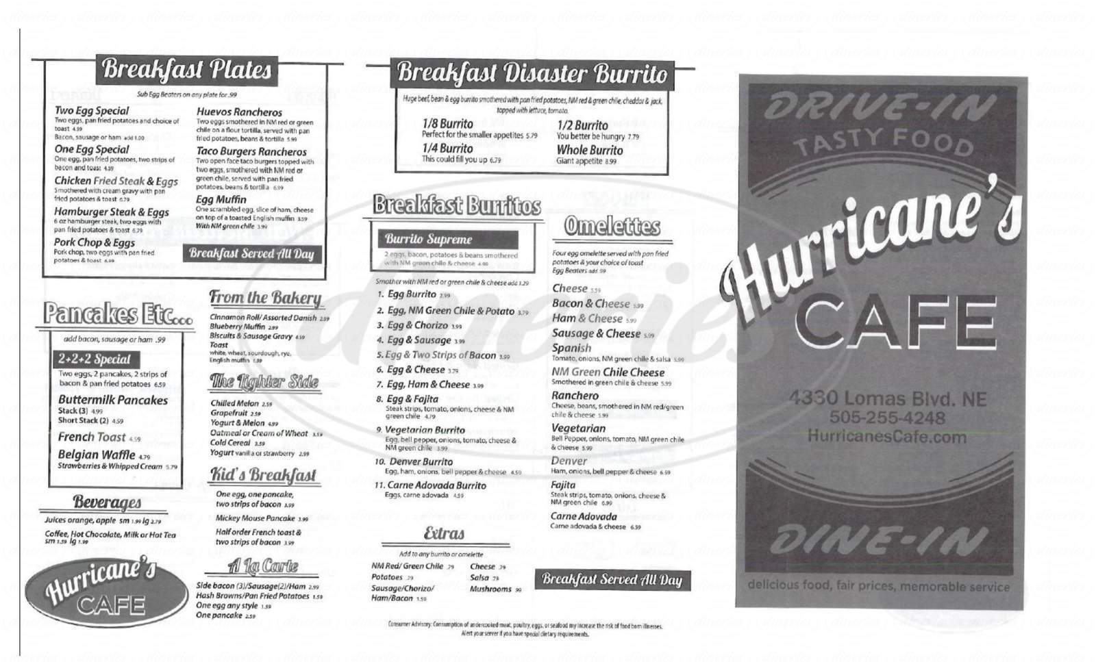 menu for Hurricane's Restaurant & Drive-In