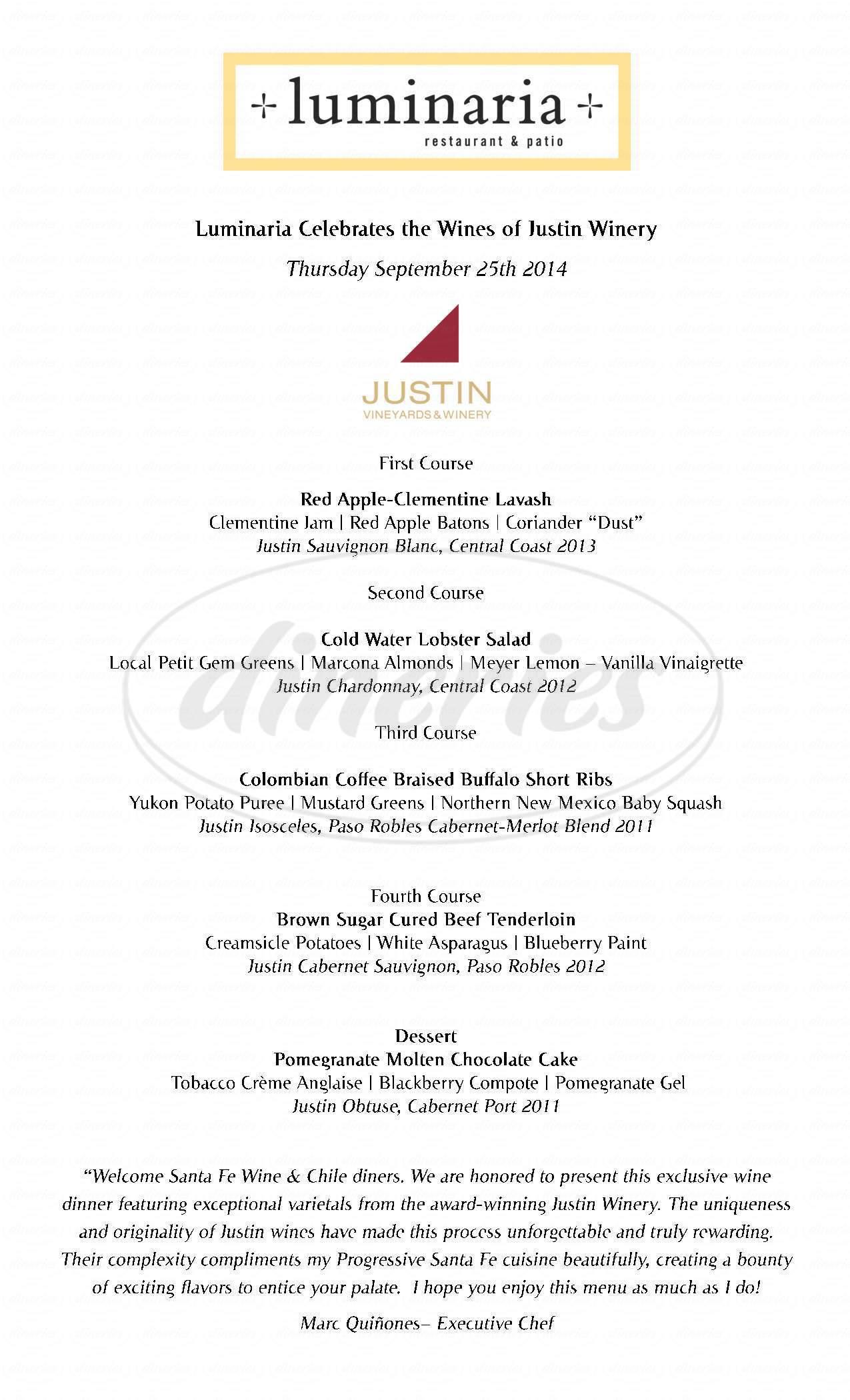menu for Luminaria