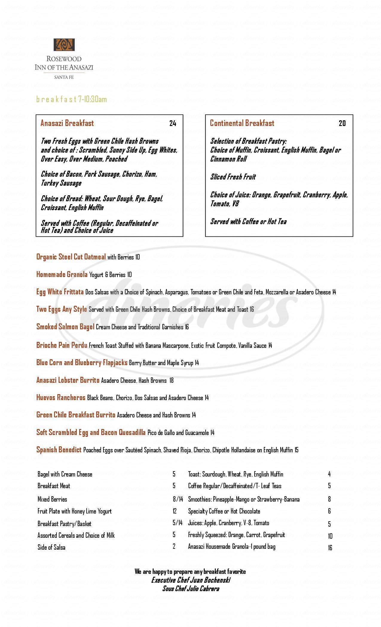 menu for Anasazi Restaurant