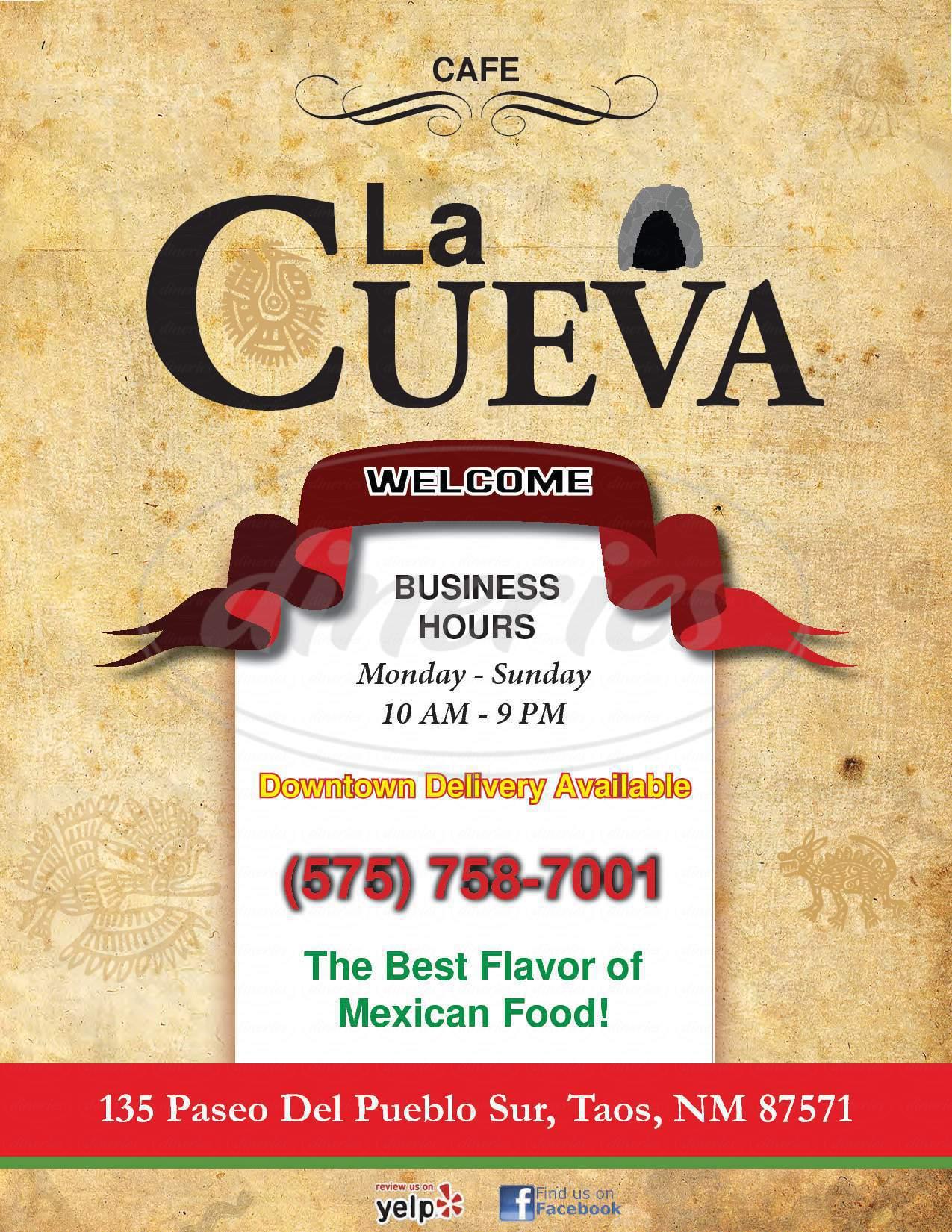menu for La Cueva Cafe