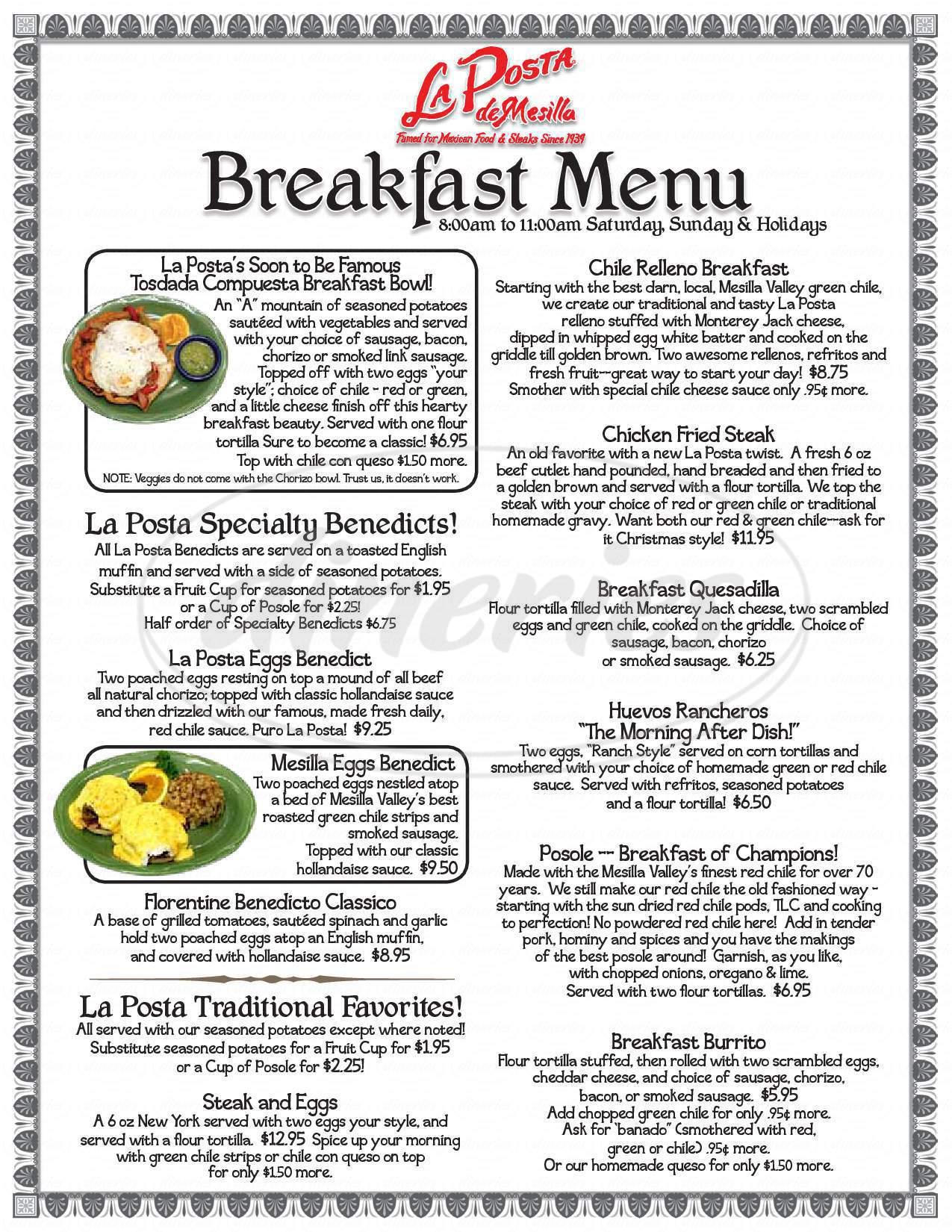 menu for La Posta de Mesilla