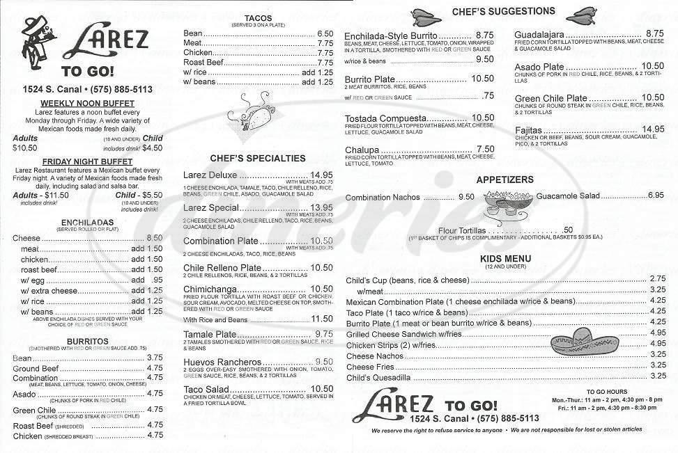 menu for Larez Restaurant