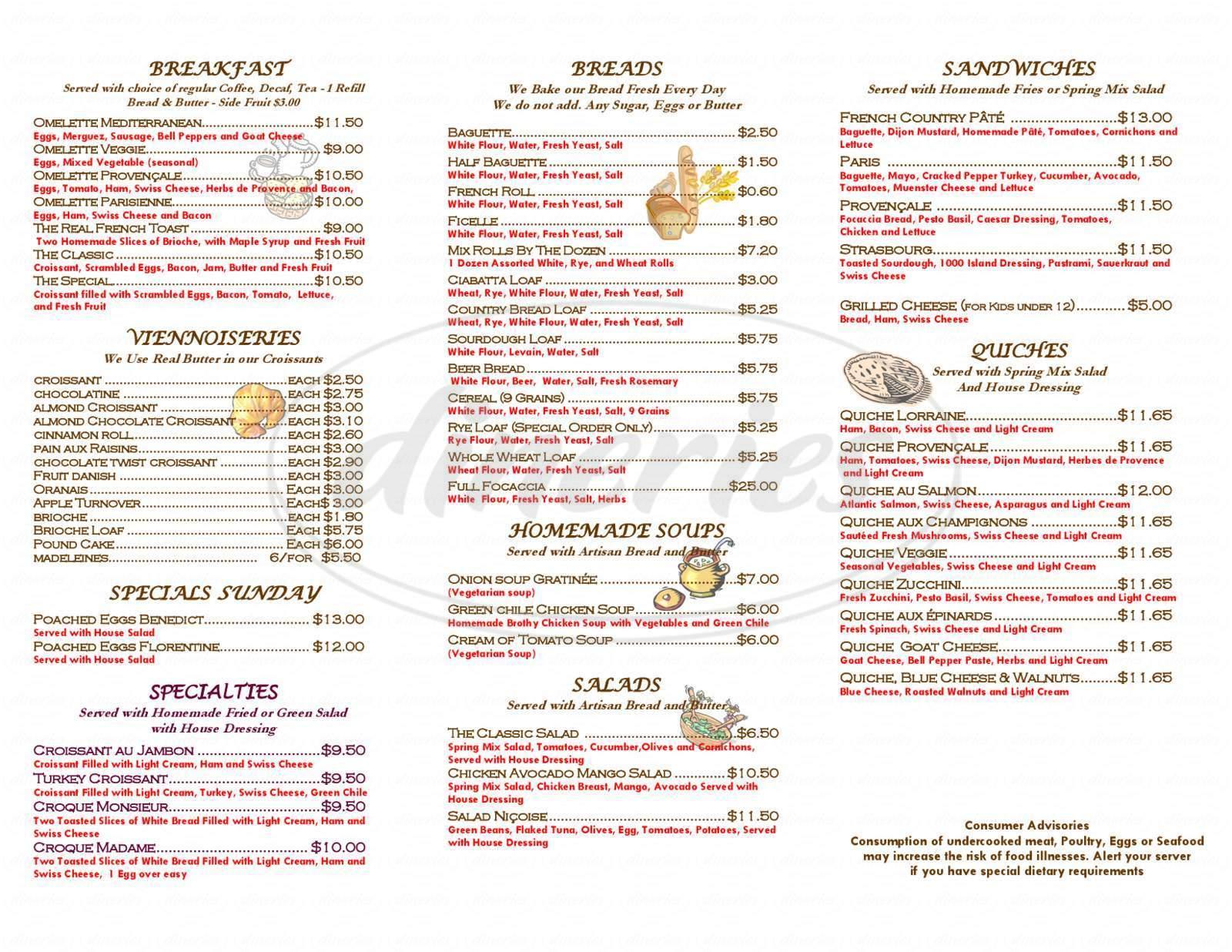 menu for La Quiche Parisienne Bistro