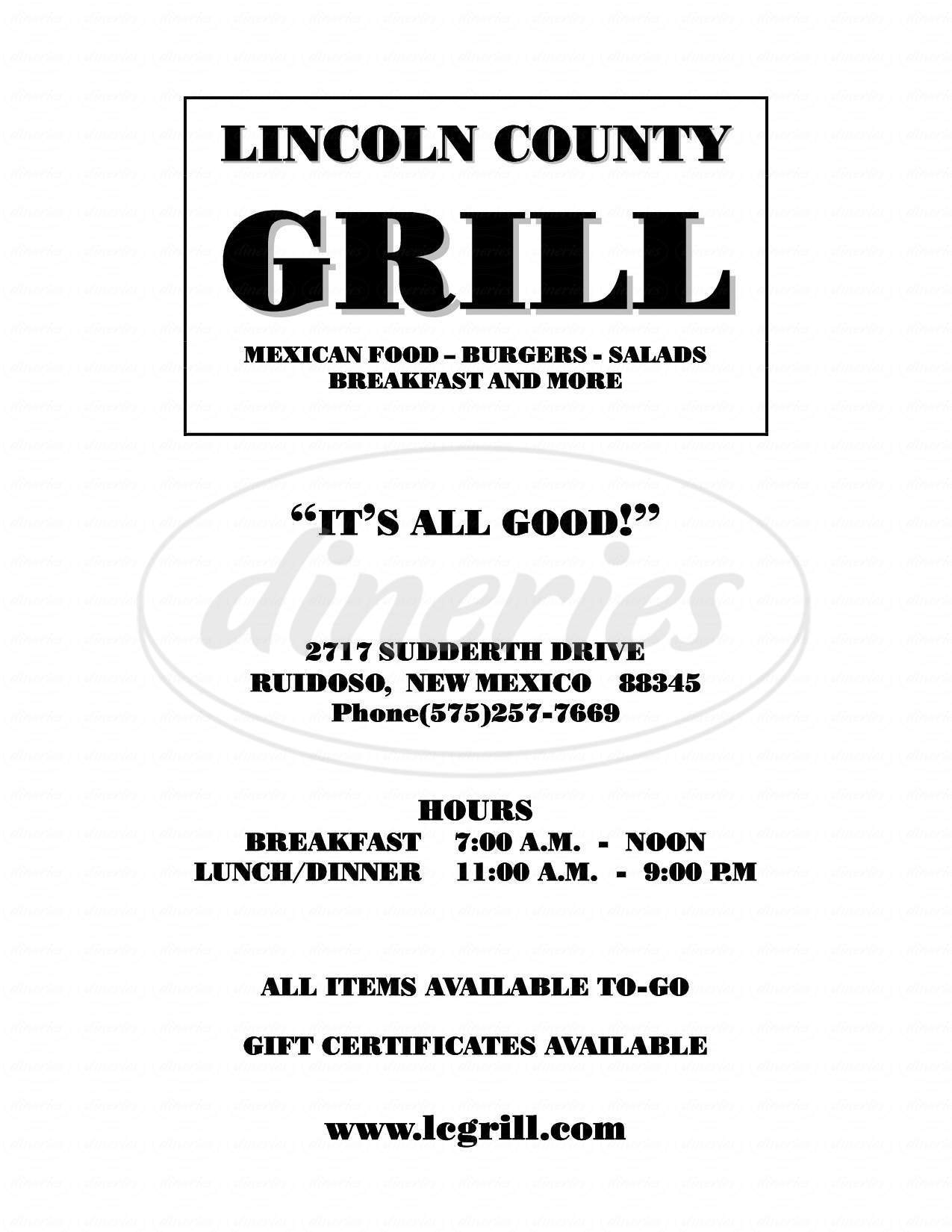 menu for Lincoln County Grill