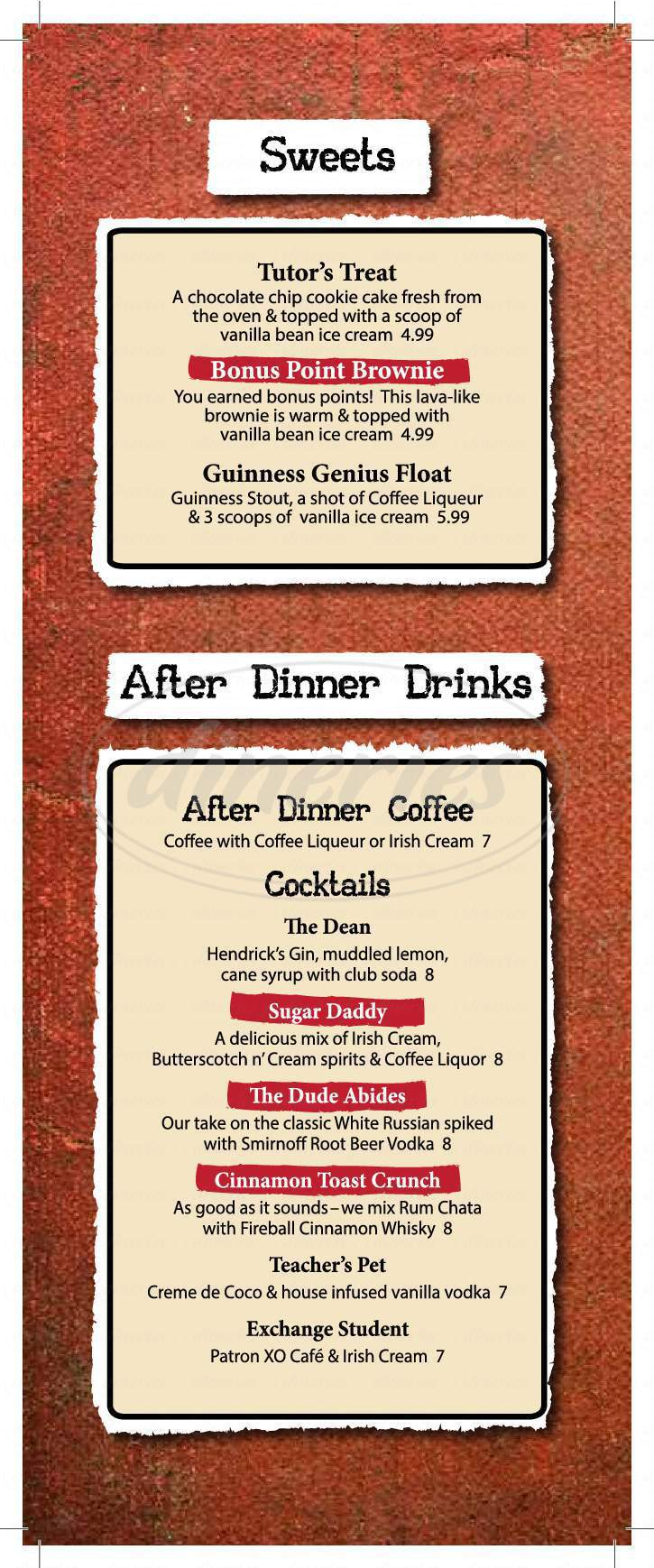 menu for The Library Bar and Grill