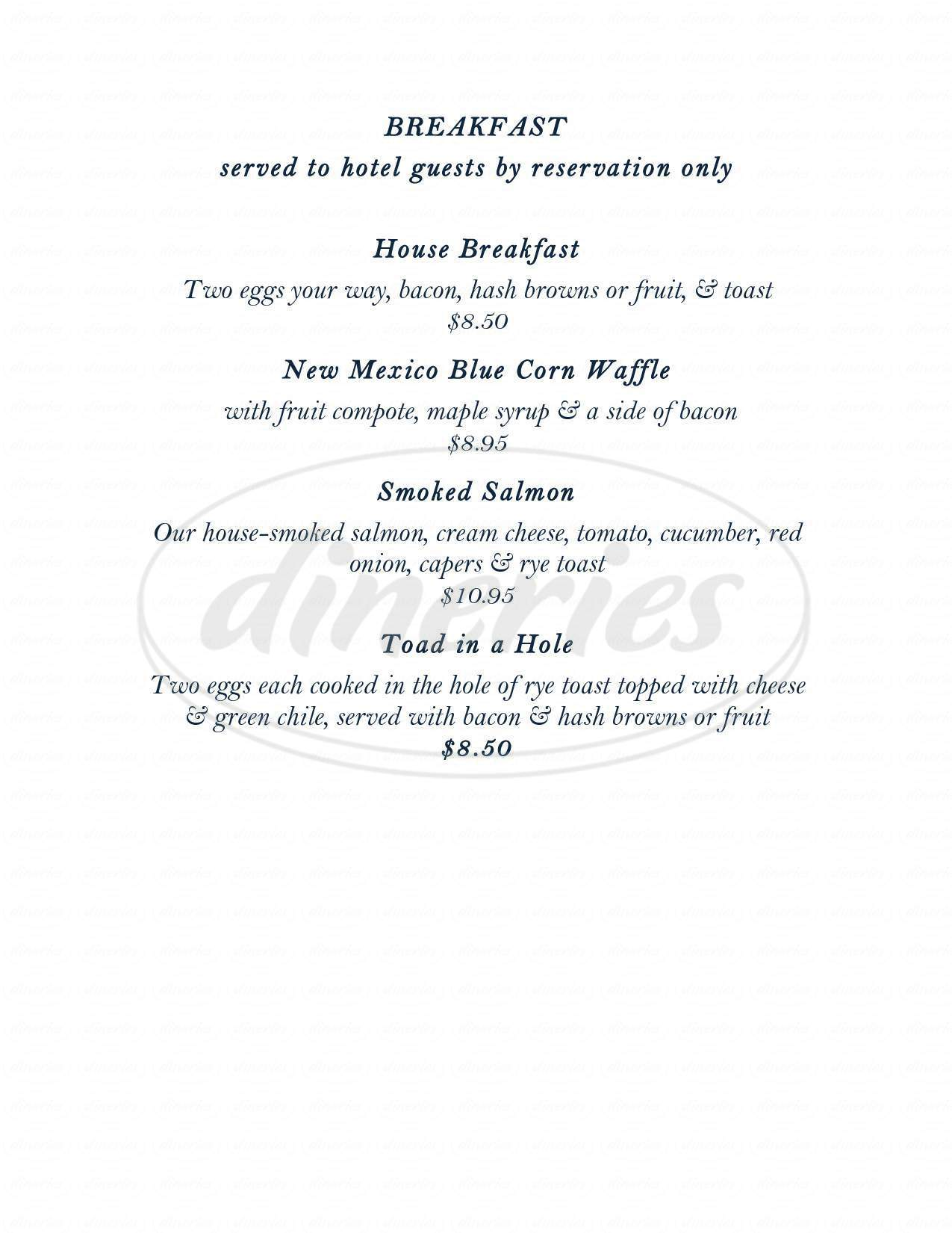 menu for Little Toad Creek Brewery & Distillery