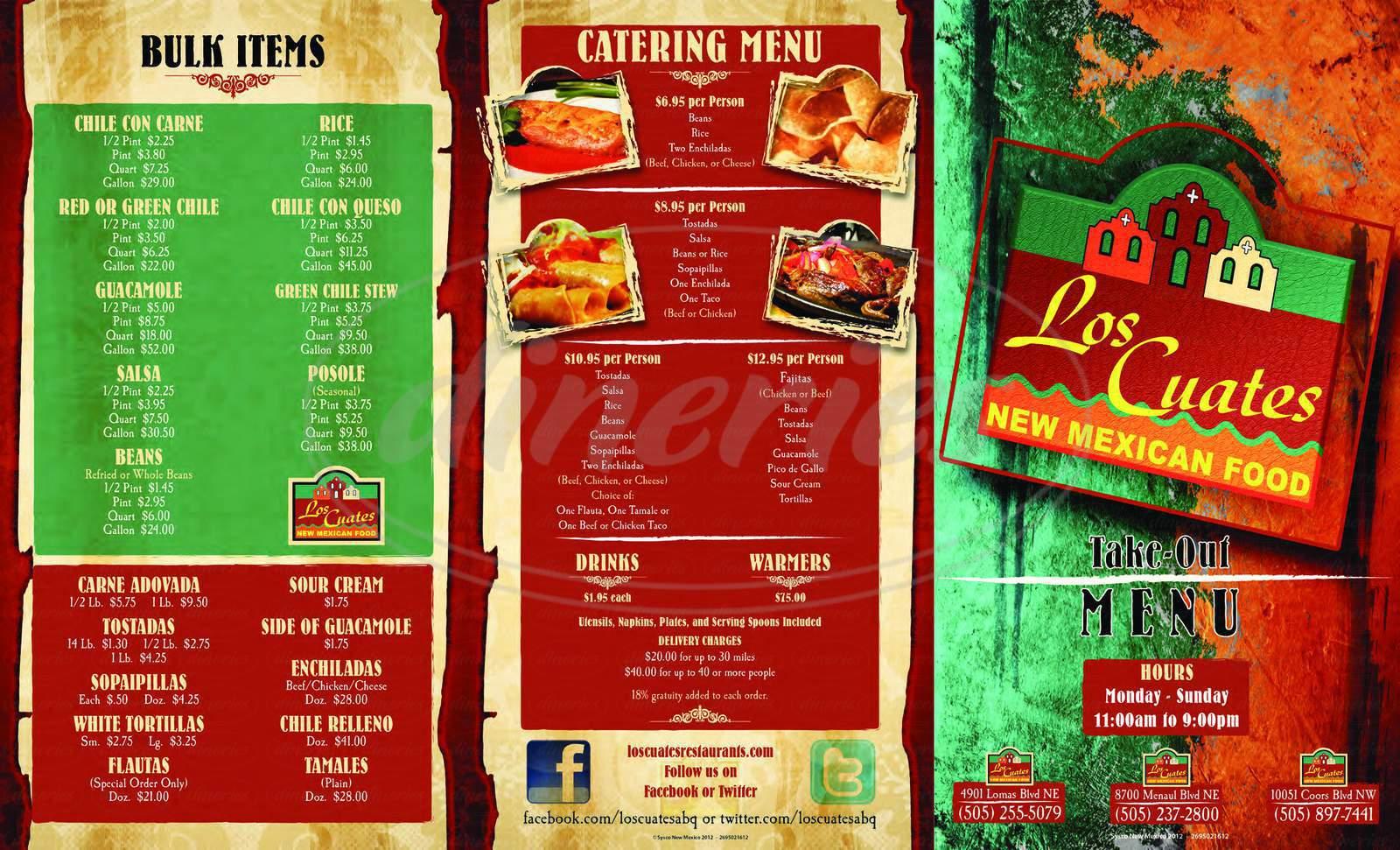 menu for Los Cuates New Mexican Food