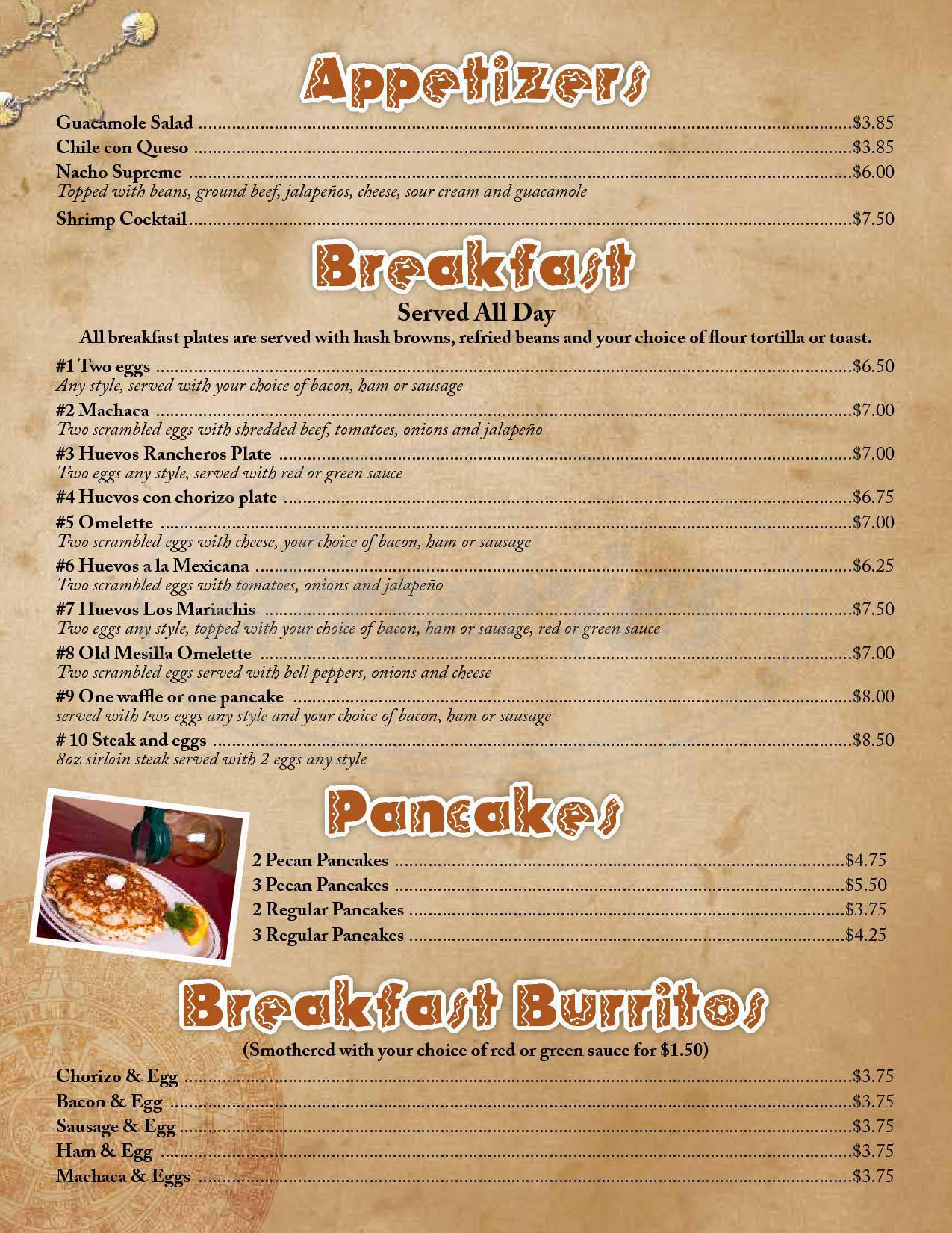 menu for Los Mariachis