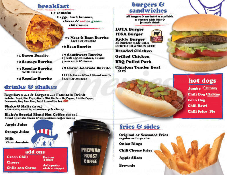 menu for Blake's Lota Burger Inc