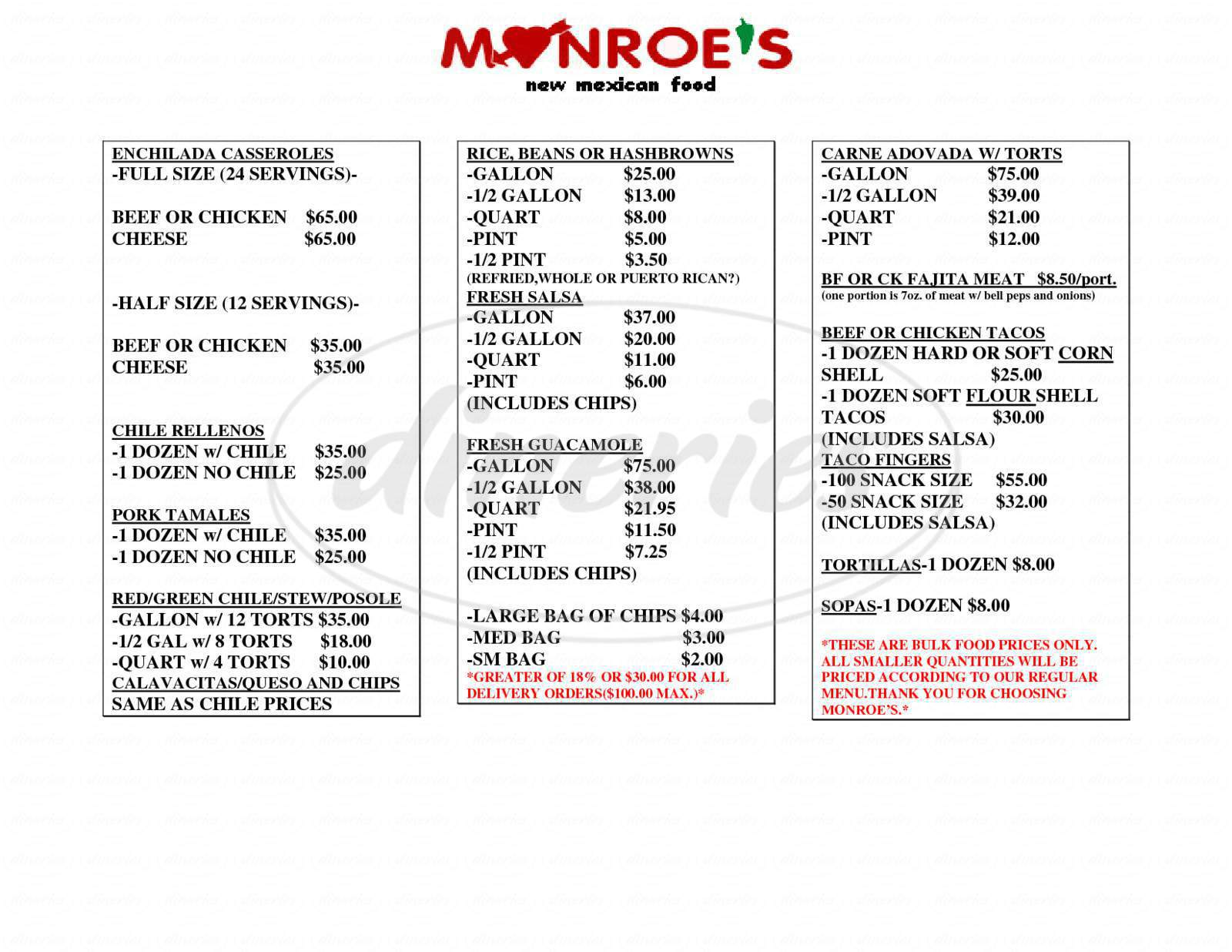 menu for Monroe's Restaurant