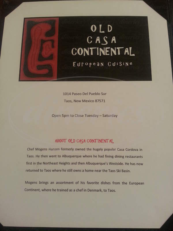 menu for Old Casa Continental