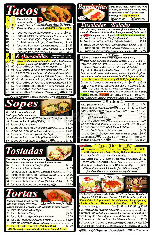 menu for 100% Taquito