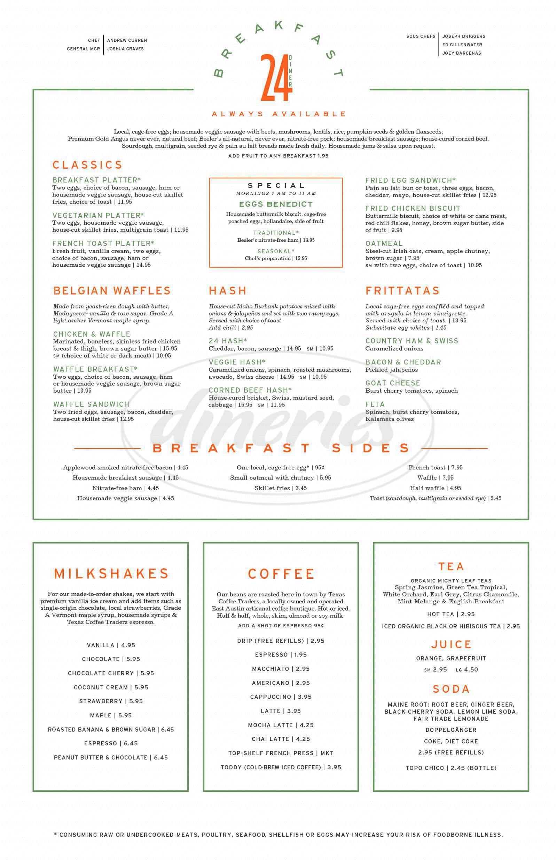 menu for 24 Diner