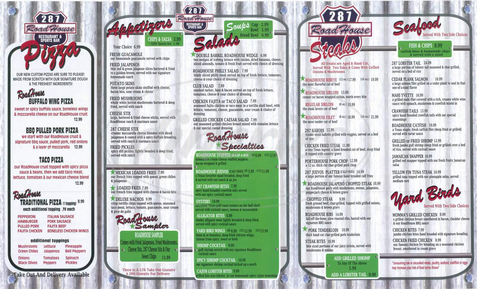 menu for 287 Roadhouse