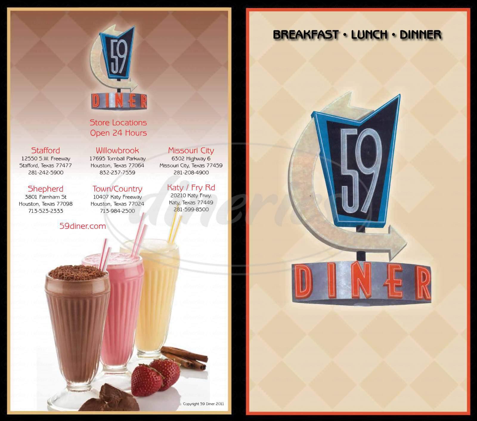menu for 59 Diner