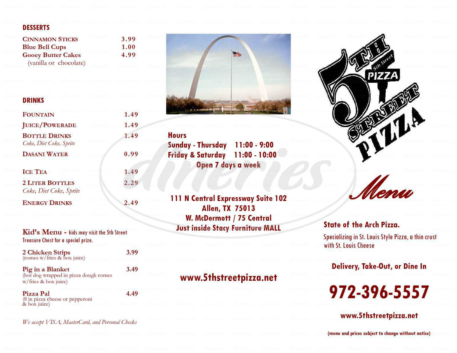 menu for 5th Street Pizza