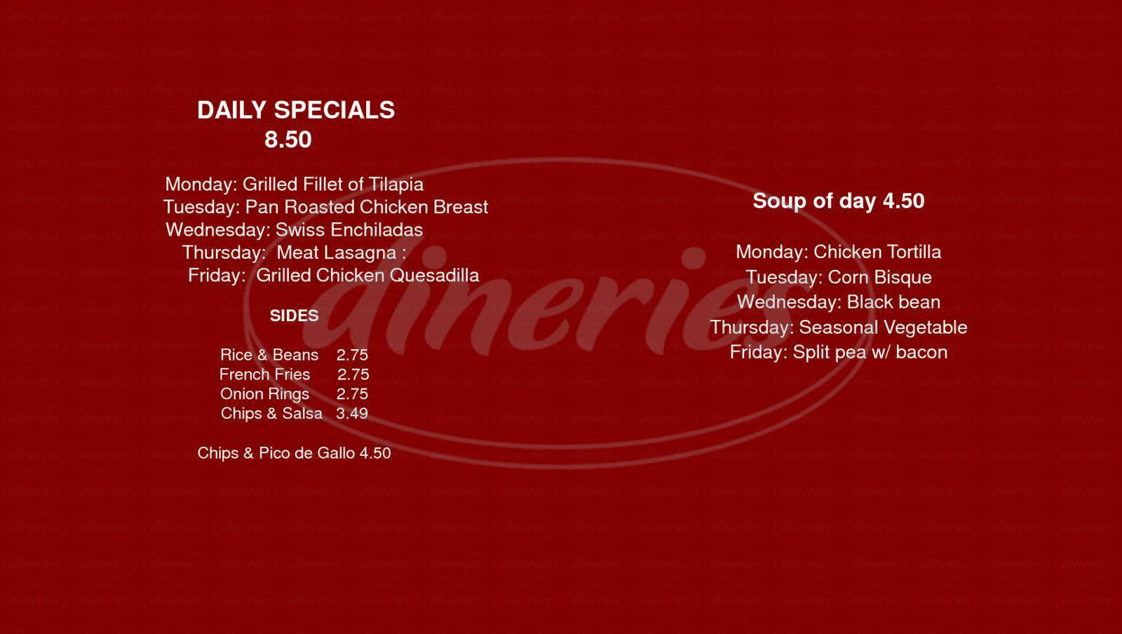 menu for American Essence Cafe