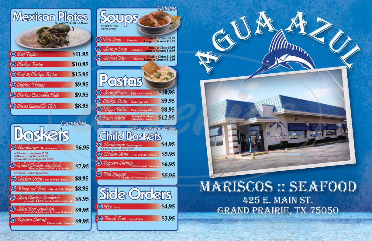 menu for Agua Azul