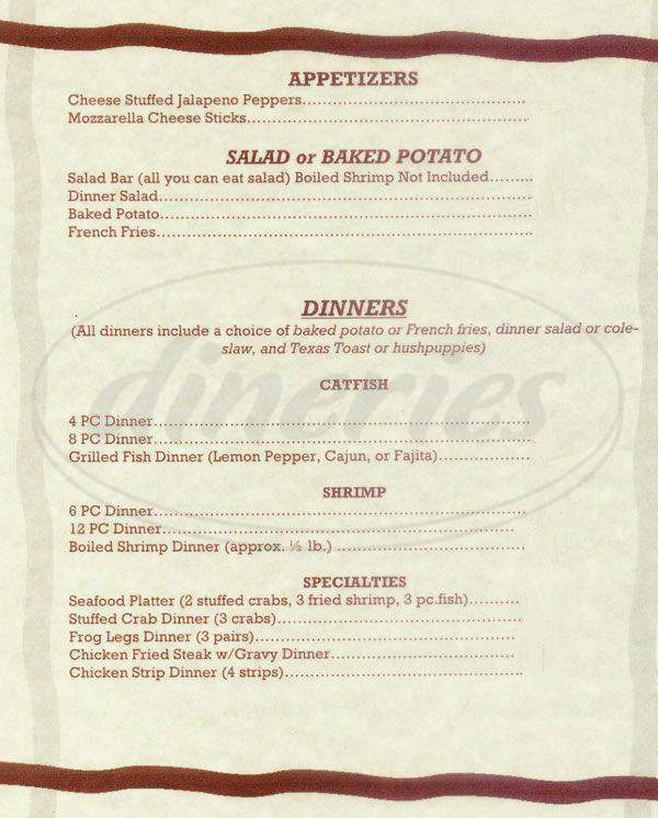 menu for A J's Fish House