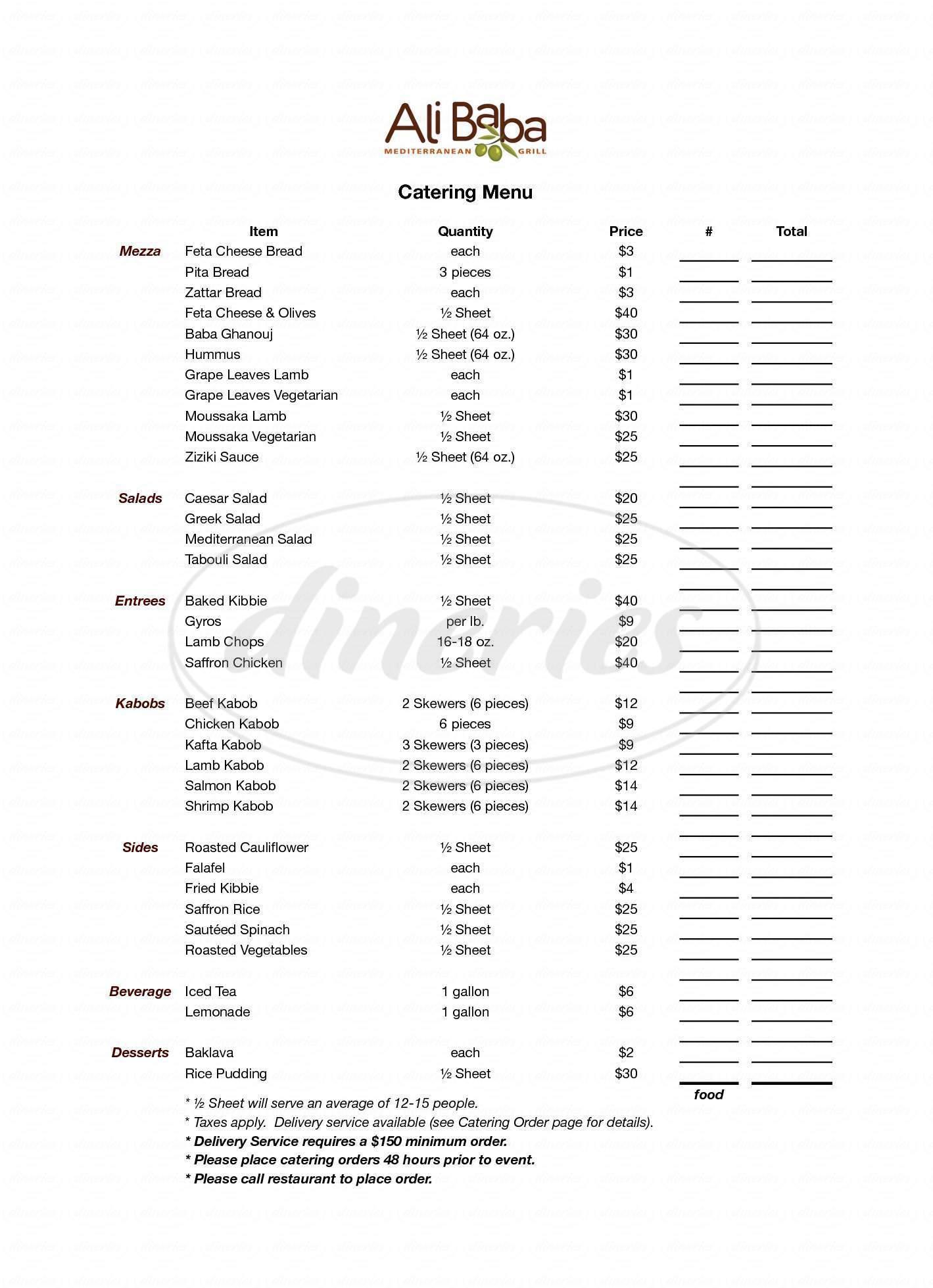 menu for Ali Baba Mediterranean Grill