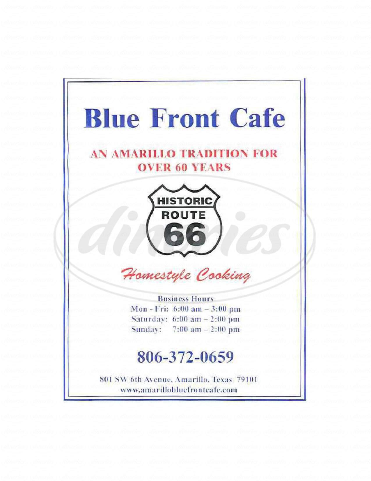 menu for Blue Front Cafe