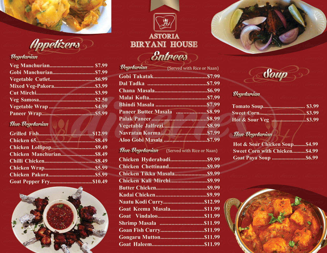 menu for Astoria Biryani House