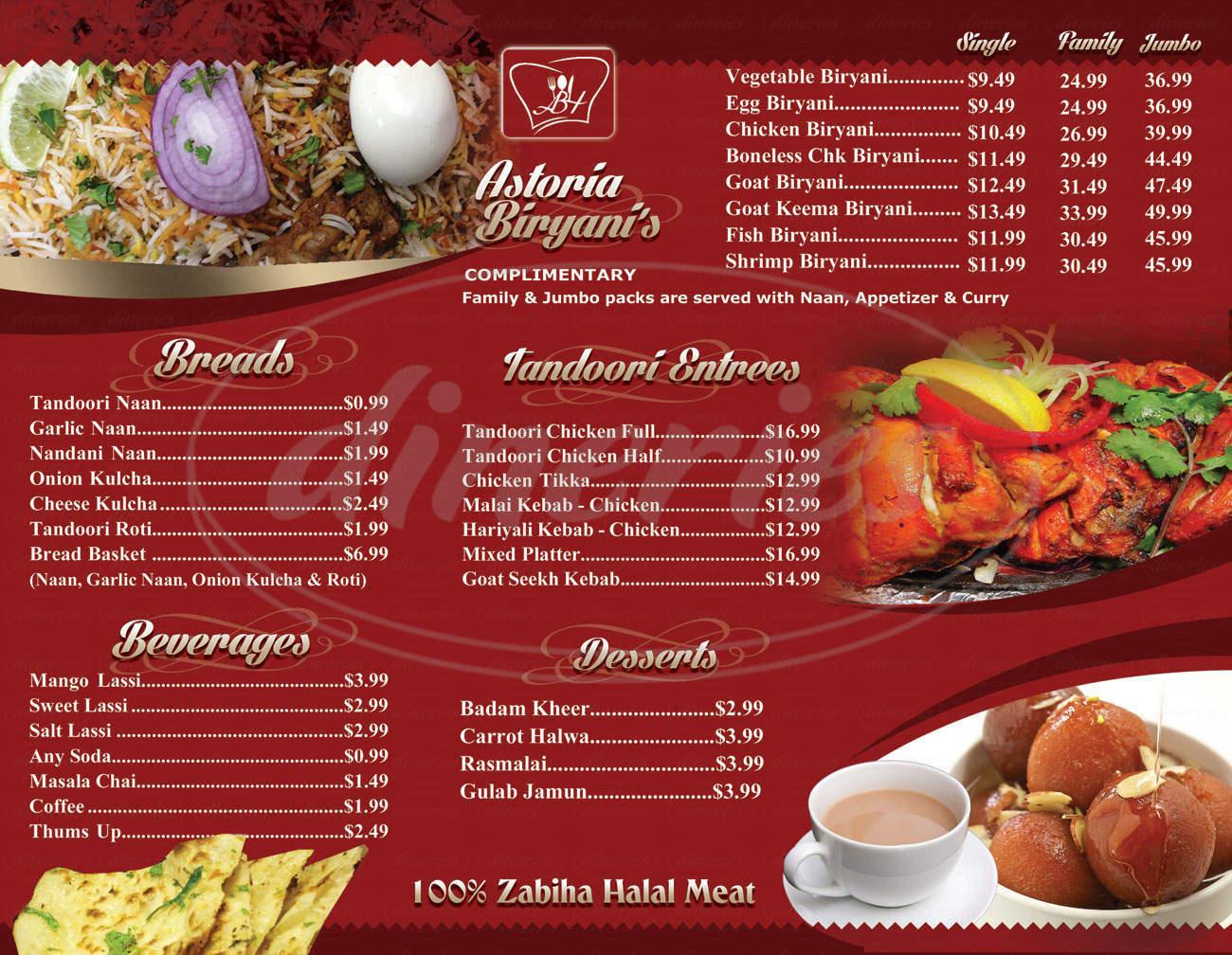 menu for Astoria Biryani House