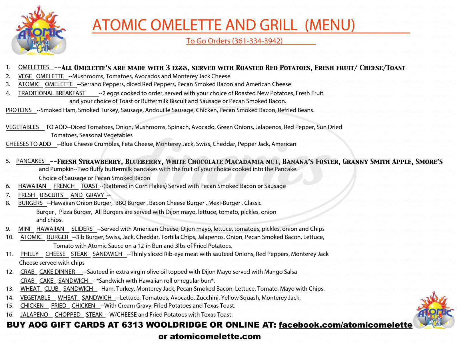 menu for Atomic Omelette & Grill