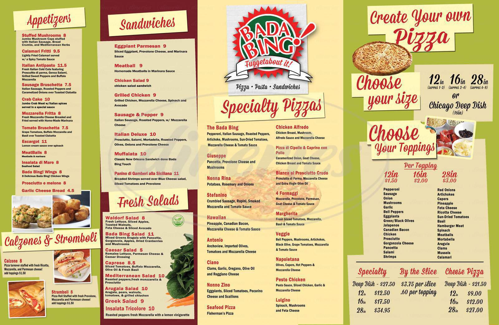 menu for Bada Bing Pizzeria