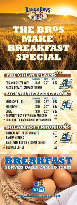 menu for Baker Brothers American Deli