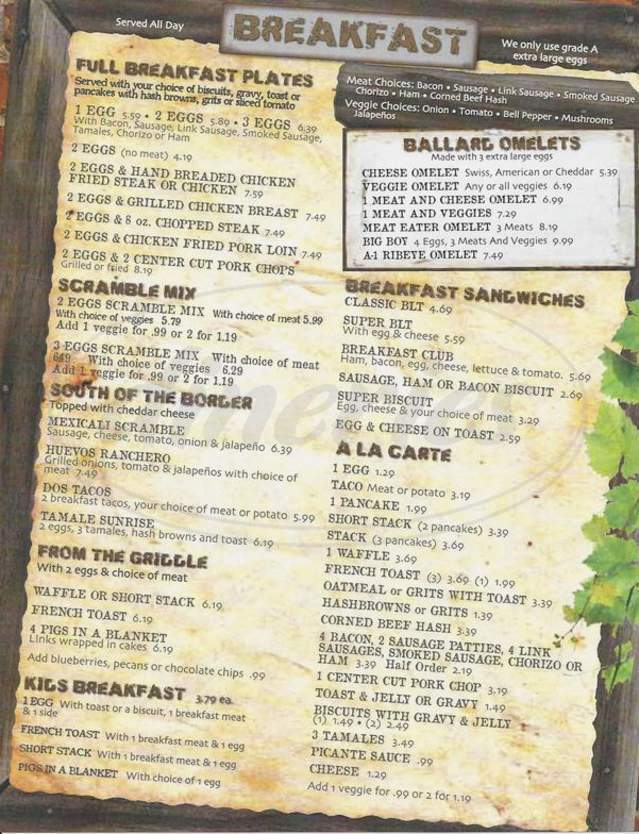 menu for Ballard Street Cafe & Grill