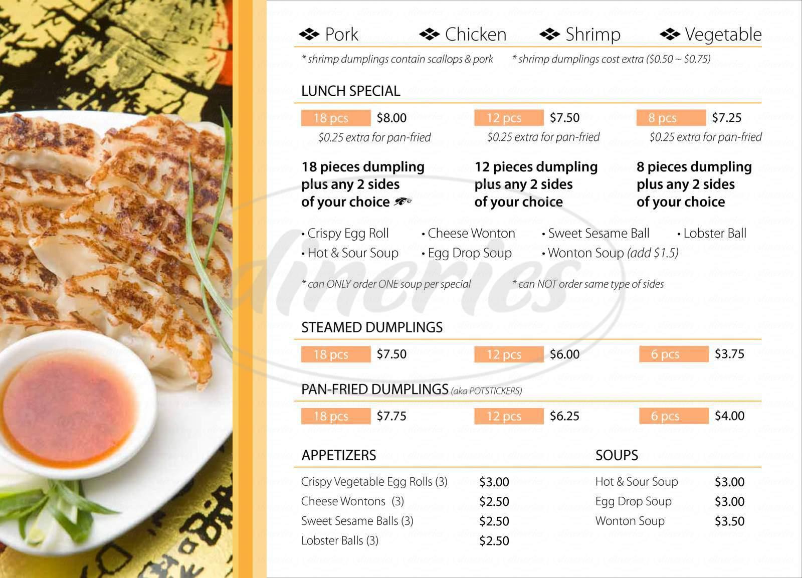 menu for Baoz Dumpling
