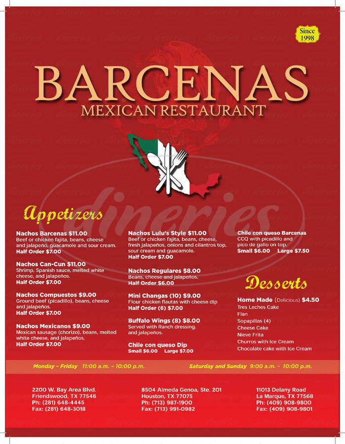 menu for Barcena's Mexican Grill