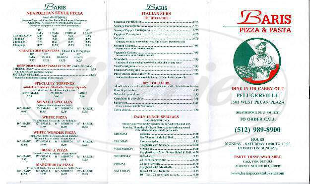 menu for Baris Pasta & Pizza