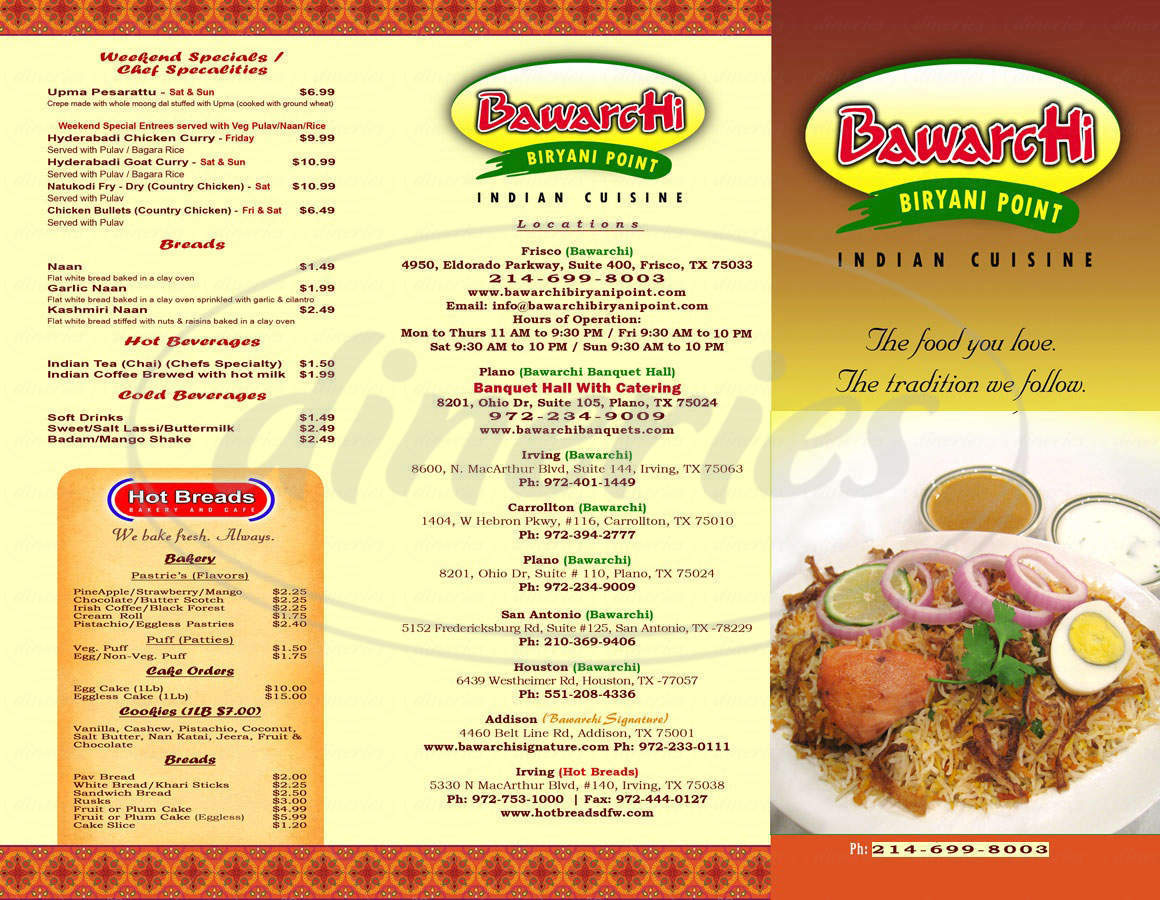 menu for Bawarchi Biryani Point Indian Cuisine