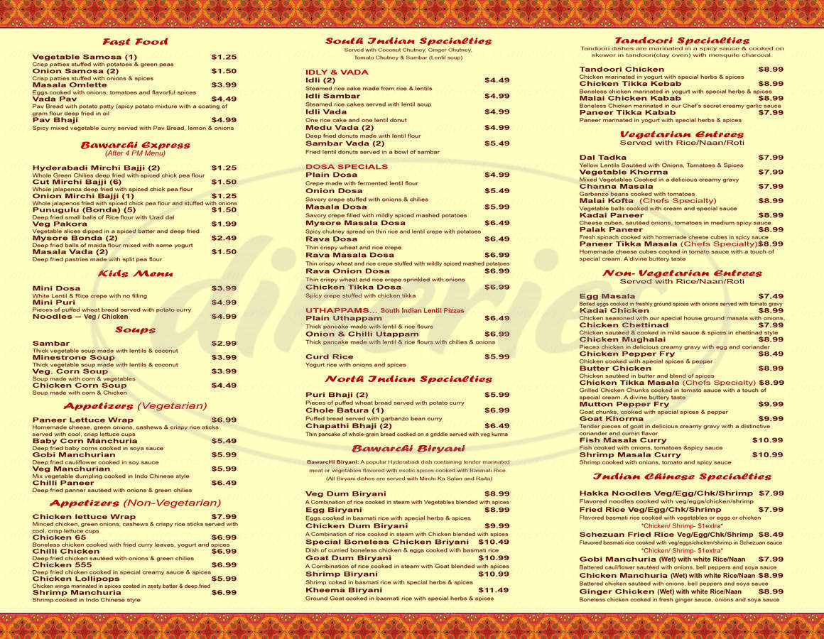 menu for Bawarchi Biryani Point - Indian Cuisine