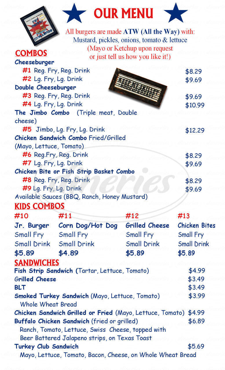 menu for Billy Bob's Burgers