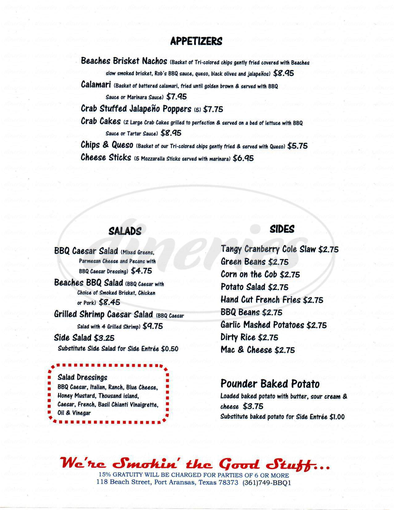 menu for Beaches Cafe and Bakery